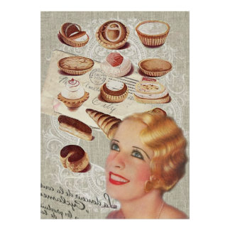 bakery cupcake pastry retro lady paris poster