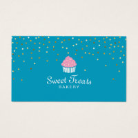 Cupcake business cards 3900 cupcake business card templates bakery cupcake sweet treats confetti turquoise standard sized business cards accmission Gallery