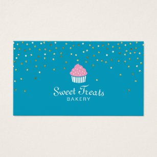 Cupcake business cards 3900 cupcake business card templates bakery cupcake sweet treats confetti turquoise business card fbccfo Gallery