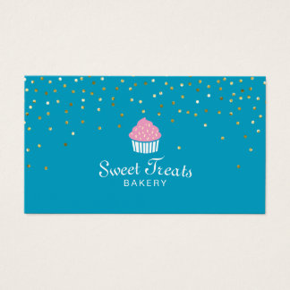 Bakery Cupcake Sweet Treats Confetti Turquoise Business Card