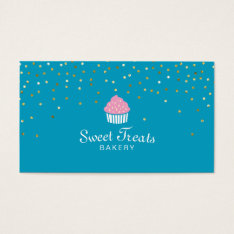 Bakery Cupcake Sweet Treats Confetti Turquoise Business Card at Zazzle