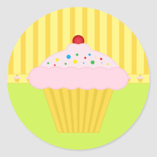 Bakery Cupcake Yellow Lime Pattern Background Classic Round Sticker