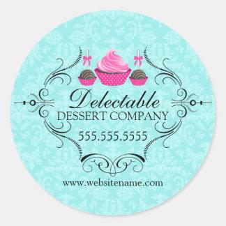 Bakery Damask Aqua and Pink Classic Round Sticker