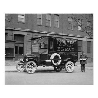 Bakery Delivery Truck, 1923. Vintage Photo Poster