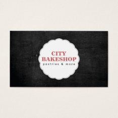 Bakery Doily Logo On Black Wood Business Card at Zazzle