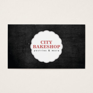 BAKERY DOILY LOGO on BLACK WOOD Business Card