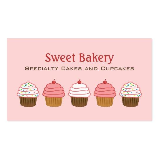 Bakery Elegant Pink Cupcake Business Cards