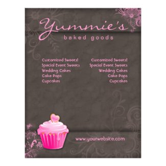 Bakery Flyer Cupcake Pink Floral Heart Brown