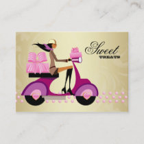Bakery Gift Box Scooter Girl Pink Gold Icing Business Card