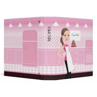 Bakery Girl Recipe Binder Illustrated zazzle_binder