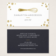 Bakery Gold Whisk Polka Dots Chef Business Cards at Zazzle