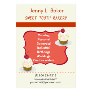 Bakery Homemade Cupcakes & Confections Large Business Cards (Pack Of 100)