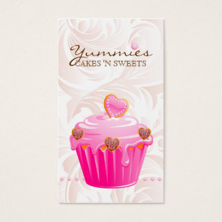 Bakery Leaf Hearts Pink Cupcake Icing Dots Business Card