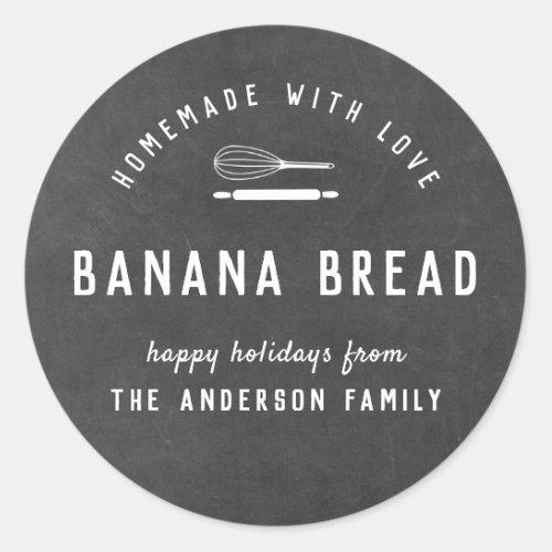 Bakery Logo Holiday Baking Gift Chalkboard Classic Round Sticker