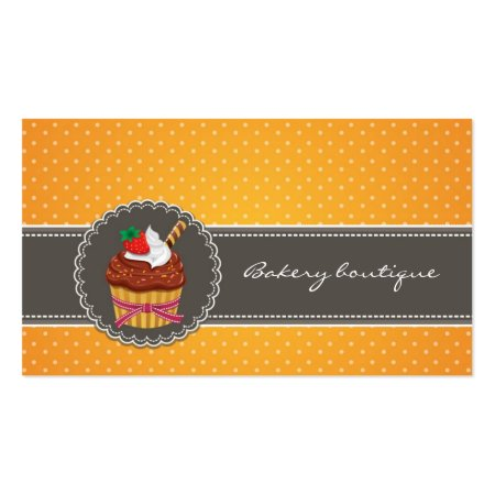 Stylish African American Baker Holding Three Yummy Cup Cakes Bakery Profile Cards