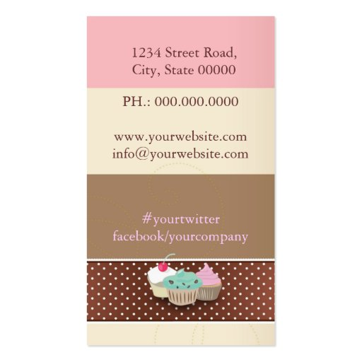 Bakery or cake boutique business card templates (back side)