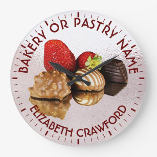 Bakery Or Pastry Sweets Cake Shop With Your Name Large Clock