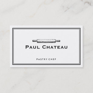 Pastry chef business cards zazzle bakery pastry chef rolling pin baker logo white business card colourmoves