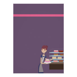 Bakery Pastry Shop 4 Blank Poster Print D3