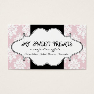 Bakery Pink Damask Business Card