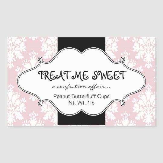 Bakery Product Labels Pink Damask Rectangle