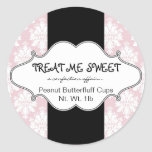 Bakery Product Labels Pink Damask Round Stickers at Zazzle
