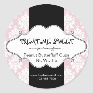 Bakery Product Labels Pink Damask Round Stickers