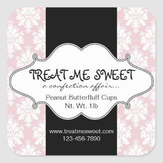Bakery Product Labels Pink Damask Square Sticker