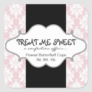 Bakery Product Labels Pink Damask Square Stickers