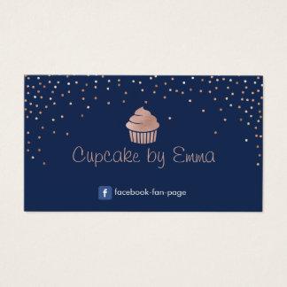 Bakery Rose Gold Cupcake Modern Confetti Navy Blue Business Card
