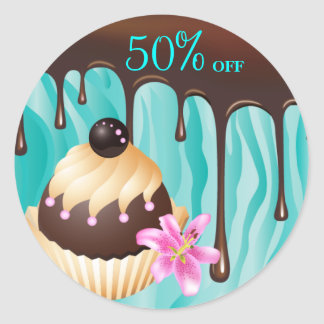 Bakery Sale Stickers Cupcake Chocolate Blue