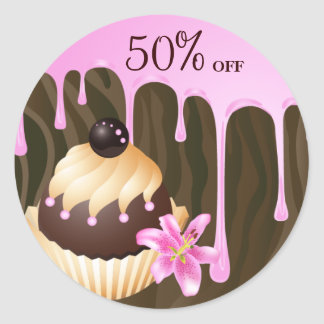 Bakery Sale Stickers Cupcake Chocolate Pink