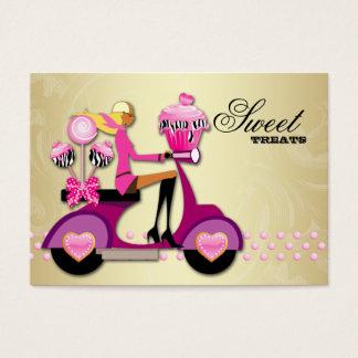 Bakery Scooter Girl Pink Gold Cake Pops Zebra Business Card
