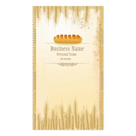 Wheat Ears and Fresh Loaf of Bread Bakery Business Cards