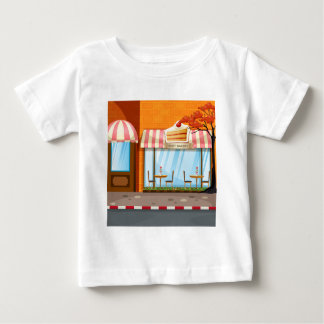Bakery shop with tables and chairs outside baby T-Shirt