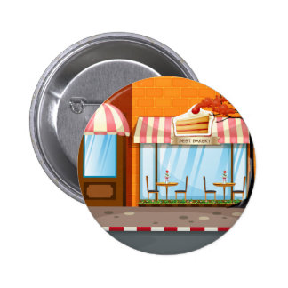 Bakery shop with tables and chairs outside pinback button