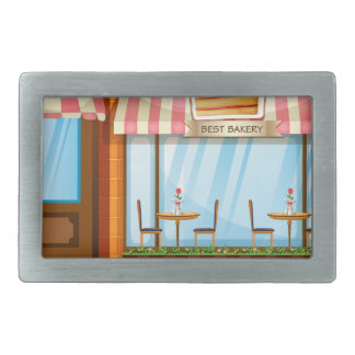 Bakery shop with tables and chairs outside rectangular belt buckle