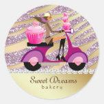 Bakery Sticker Sparkle Zebra Scooter Girl Pink