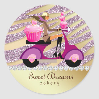 Bakery Sticker Sparkle Zebra Scooter Girl Pink