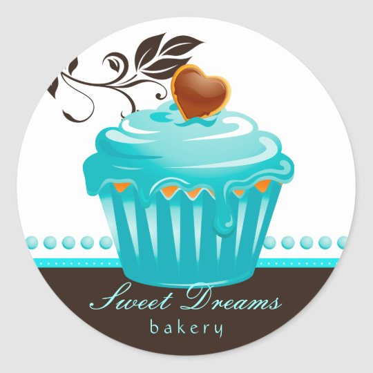 Bakery Stickers Blue Cupcake Chocolate Brown