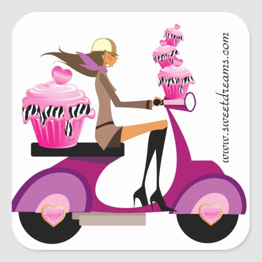 Bakery Stickers Pink Cupcake Scooter Girl Zebra