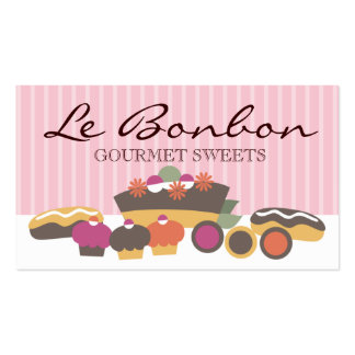 Bakery sweets cake cupcakes eclairs cookies bus business cards