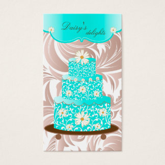Bakery Wedding Cake Pastry Chef Blue Floral Daisy Business Card