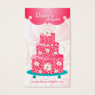 Bakery Wedding Cake Pastry Chef Pink Floral Daisy Business Card