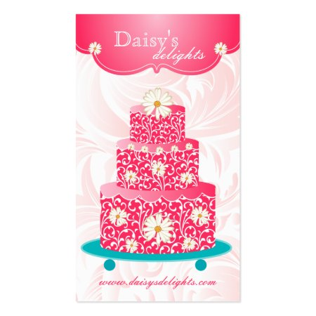 Sweet Pink Wedding Cake with White Daisies Pastry Chef Business Cards