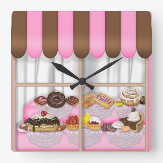 Bakery Window Sweet Treat clock