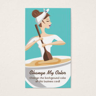 Bakery woman baking mixing bowl business cards