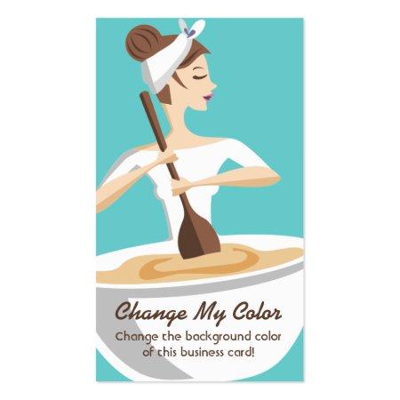 Cartoon Woman Mixing Bowl Baking Baker Business Cards