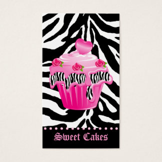 Bakery Zebra Rose Pink Cupcake Heart Icing Dots Business Card