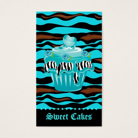 Bakery Zebra Tiger Rose Blue Cupcake Heart Icing Business Card